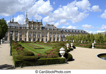 Palace, garden in foreground. La granja de San Ildefonso, Spain