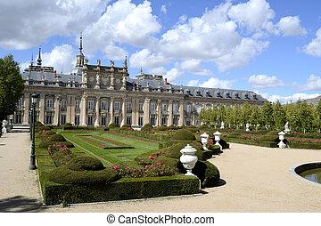 Palace, garden in foreground. La granja de San Ildefonso, Spain