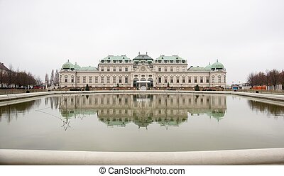 Palace in water reflection in austrian travel in autumn