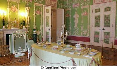 palace interior in Pushkin St. Petersburg Russia
