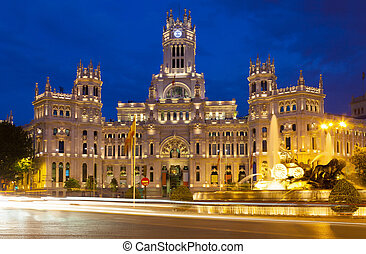 View of Palace of Communication in summer night. Madrid, Spain