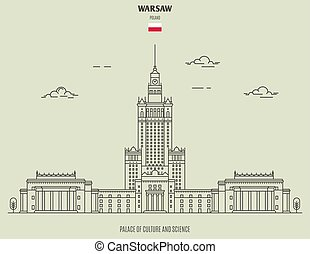Palace of Culture and Sciencel in Warsaw, Poland. Landmark icon in linear style