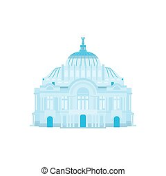 Palace of Fine Arts silhouette in blue colors. Vector...