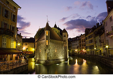 Palace of Isle ( Palais de l'Isle ) by night at Annecy (Haute-Savoie) in France