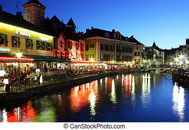 Palace of Isle ( Palais d'Isle ) by night at Annecy - Palace...