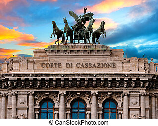 Palace of justice or court exterior facade Rome Italy at sunset or sunrise
