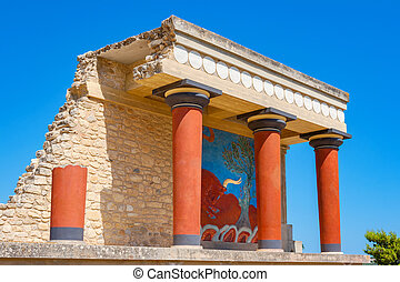 Palace of Knossos. Crete, Greece - Knossos Palace ruins. ...