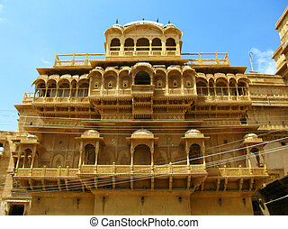 "Palace of the Maharaja in Jaisalmer, the magnificent ""Golden City"" in the heart of Rajasthan (India), surrounded by the desert of Thar"