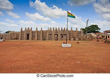 Palace of the Wa Na with Ghana flag, in Wa, Ghana