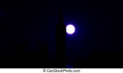 Palace Of Westminster And Big Ben In London Full Moon