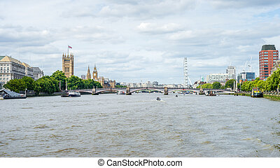 Palace of Westminster, Big Ben, Westminster Bridge, London Eye View By The River Thames