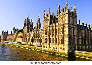 Palace of Westminster - Houses of Parliament on Thames river...