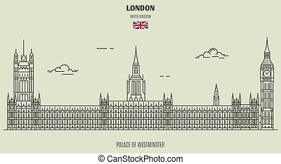 Palace of Westminster in London, UK. Landmark icon in linear style