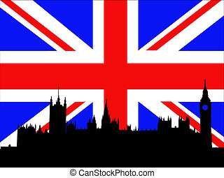 Palace of Westminster London against British Flag
