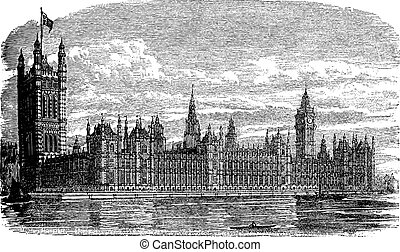 Palace of Westminster or Houses of Parliament in London England vintage engraving
