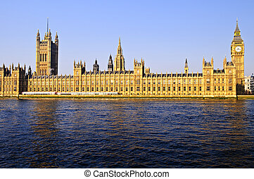 Houses of Parliament with Big Ben from Thames river