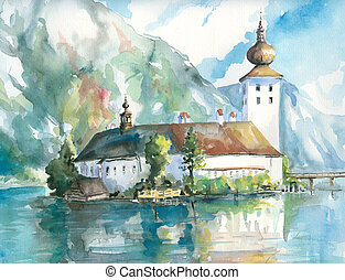 Palace on the water-Gmunden Lake.Picture I have created...