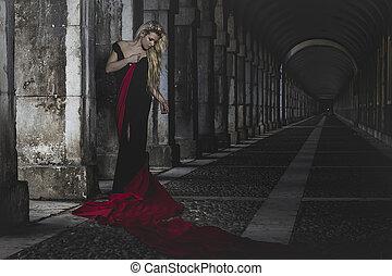 palace, romantic scene, beautiful blond, fallen angel with black