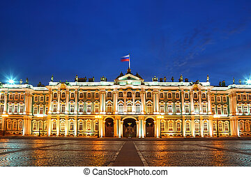 Palace Square, Hermitage museum in evening. Saint-Petersburg...