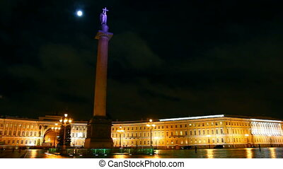 Palace Square in St. Petersburg, moonlit night