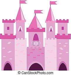 palace., vecteur, turrets., château, rose, gosses, conte, fée, illustration, enfants, princesse