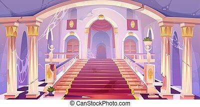 palace., vide, vieux, château, abandonnés, escalier