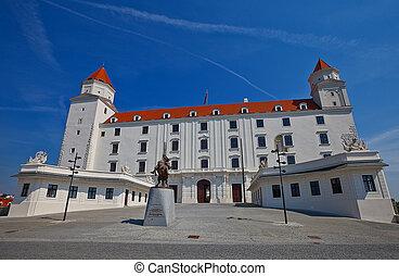 Front view of the Palace (circa XVIII c.) of Bratislava Castle (founded in IX c.). Bratislava, Slovakia