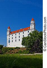 Side view of the Palace (circa XVIII c.) of Bratislava Castle (founded in IX c.). Bratislava, Slovakia