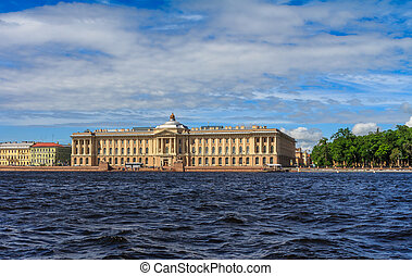 Palaces of St. Petersburg in a sunny windy summer day