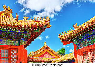 Palaces, pagodas inside the territory of the Forbidden City ...