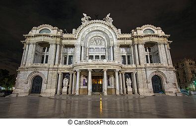 palacio, artes, palacio, de, -, bellas, noche, artes, multa