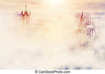 palacio, big ben, mañana, westminster, uk., fog., londres