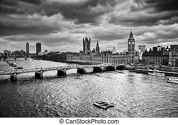 palacio, big ben, westminster, uk., negro, blanco, londres