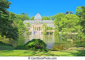 palacio cristal, (palacio, de, cristal), en, buen, parque,...