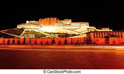 palacio de potala, escena, noche, tibet