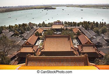 palacio de verano, beijing, lago, longevidad, kunming, china...