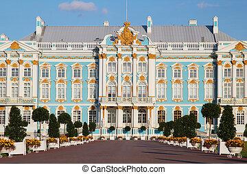 palacio de verano, catherine, -, pushkin, residencia, ruso, tsars., saint-petersburg.