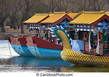 palacio de verano, chino, kunming, lago, exterior, barcos, ...