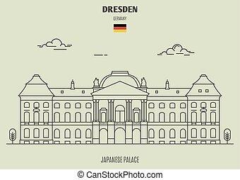 palacio, dresden, germany., señal, japonés, icono