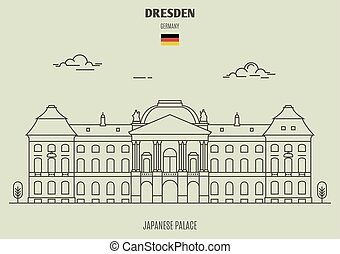 palacio, dresden, japonés, señal, icono, germany.