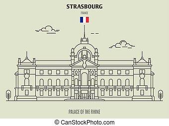 palacio, france., rin, estrasburgo, señal, icono