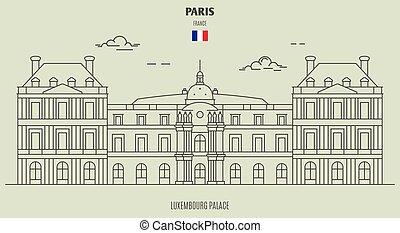 palacio, france., señal, luxemburgo, icono, parís