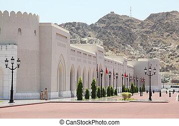 palacio, gente, pared, autobús, oman., sultan's, cars.