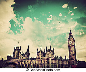 palacio, grande, londres, westminster, uk., ben