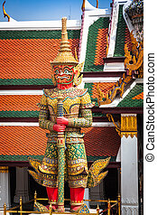 palacio, guardián, phra, demonio, bangkok, magnífico, wat,...