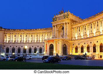 palacio, hofburg, -, imperial, austria, noche, viena