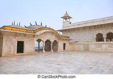 palacio, india, fortaleza, mármol blanco, agra