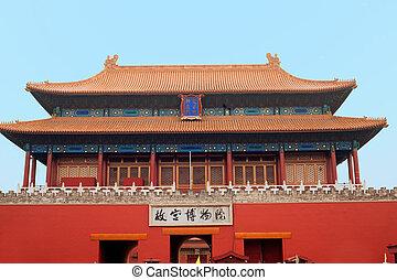 palacio, museo, puerta, chino, clavos