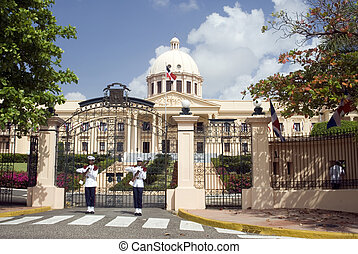 palacio nacional the national palace santo domingo dominican republic beautiful government building with guards and firearms guns uniforms