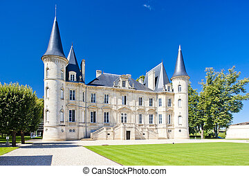 palacio pichon longueville, burdeos, región, francia